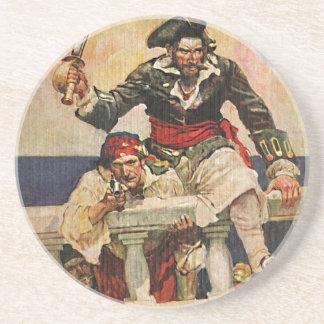 Blackbeard Buccaneer Pirate and Mate Illustration Coaster
