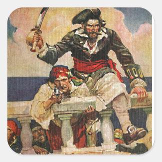 Blackbeard Buccaneer Pirate and Mate Illustration Square Sticker
