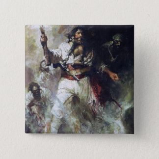 Blackbeard in Smoke and Flames 15 Cm Square Badge
