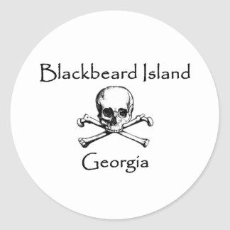 Blackbeard Island Georgia Jolly Roger Classic Round Sticker