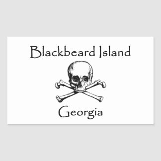 Blackbeard Island Georgia Jolly Roger Rectangular Sticker