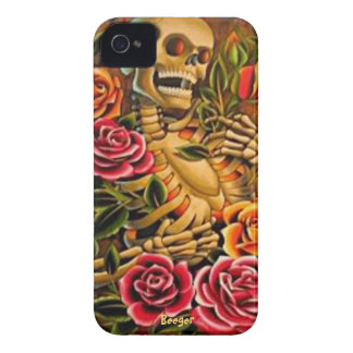 Blackberry bold - Mardi Gras Skeleton with Roses iPhone 4 Cases