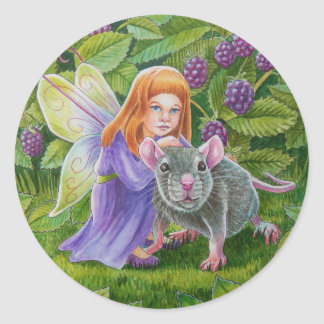 Blackberry Fairy and Pet Mouse Classic Round Sticker