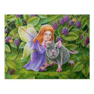 Blackberry Fairy and Pet Mouse Postcard