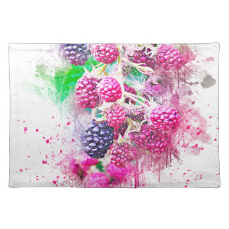 blackberry fruit art abstract placemat