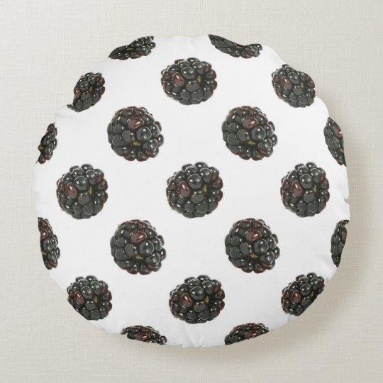 Blackberry. Polka dots. fruits pattern. Round Cushion