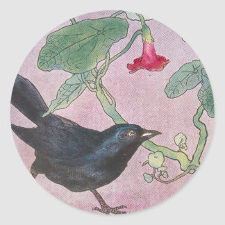 Blackbird and Nasturtiums Classic Round Sticker