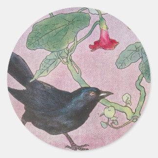 Blackbird and Nasturtiums Round Sticker