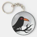 Blackbird Goth Raven/Crow Basic Round Button Key Ring