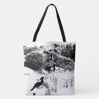 Blackbird Perched on Post Outline Tote Bag