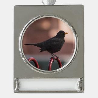 Blackbird Silver Plated Banner Ornament
