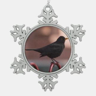 Blackbird Snowflake Pewter Christmas Ornament