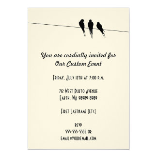 Blackbirds Silhouette on Wire 13 Cm X 18 Cm Invitation Card