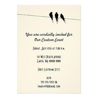 Blackbirds Silhouette on Wire Custom Invitation
