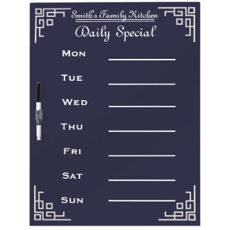 Blackboard Chalkboard Weekly Family Dinner Menu Dry Erase Boards