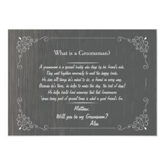 Blackboard Groomsman Request Card 13 Cm X 18 Cm Invitation Card
