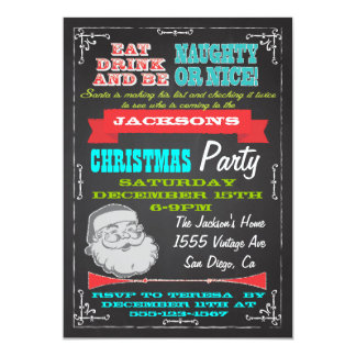 Blackboard Naughty or Nice Christmas Party Invites