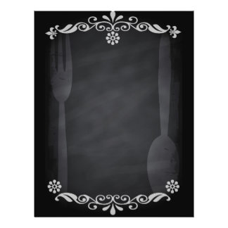 Blackboard Sketch Menu Food Fork Spoon