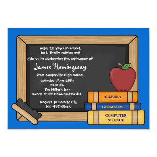Blackboard Teacher's Retirement YOU PICK COLOR 13 Cm X 18 Cm Invitation Card