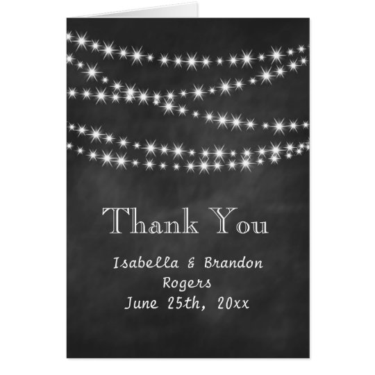 Blackboard Twinkle Lights Thank You Card