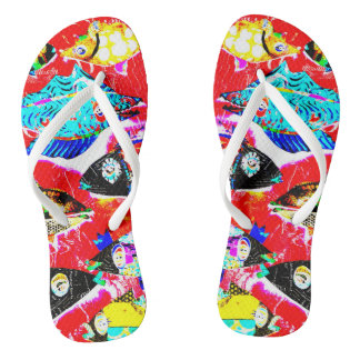 """Blackened Red Fishy"" Flops Thongs"