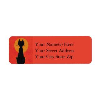 Blackest of Cats Vintage Halloween Return Address Label
