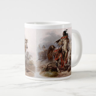 Blackfoot Indian On Arabian Horse being chased Large Coffee Mug