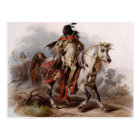 Blackfoot Indian On Arabian Horse being chased Postcard