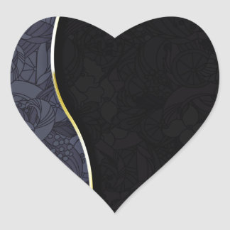 Blackish and Grey floral wedding gift Heart Stickers