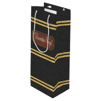Blackish Gold Lines Wine Gift Bag