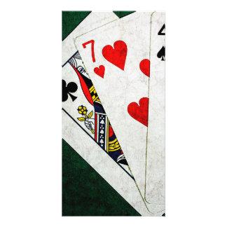 Blackjack 21 point - Queen, Seven, Four Photo Card