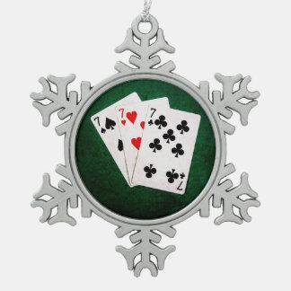 Blackjack 21 - Seven, Seven, Seven Snowflake Pewter Christmas Ornament