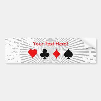 Blackjack / Poker Card Suits: Bumper Sticker Car Bumper Sticker