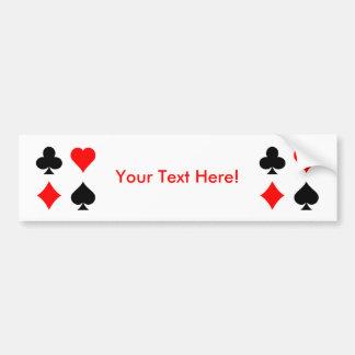 Blackjack / Poker Card Suits: Vector Art: Car Bumper Sticker