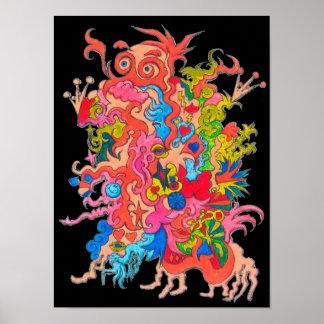 Blacklight Psychedelic Monster Poster