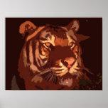 Blacklight Tiger Face Print Poster