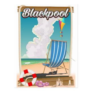 Blackpool beach seaside travel poster postcard