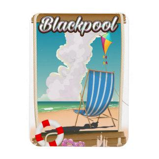 Blackpool beach seaside travel poster rectangular photo magnet