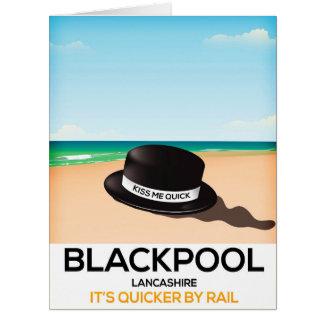 "Blackpool ""kiss me quick"" hat travel rail poster card"