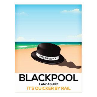 "Blackpool ""kiss me quick"" hat travel train poster postcard"