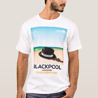 "Blackpool ""kiss me quick"" hat travel train poster T-Shirt"