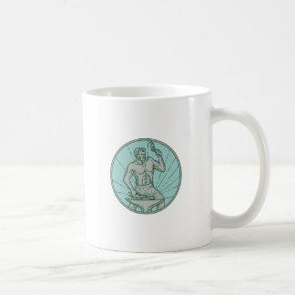Blacksmith Hammering Anvil Circle Mono Line Coffee Mug