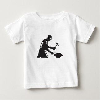 Blacksmith Worker Forging Iron Black and White Woo Baby T-Shirt