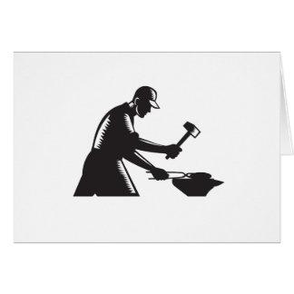 Blacksmith Worker Forging Iron Black and White Woo Card
