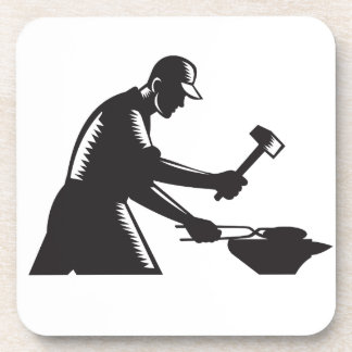 Blacksmith Worker Forging Iron Black and White Woo Coaster
