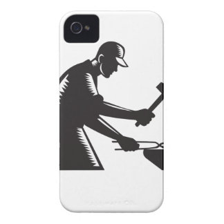 Blacksmith Worker Forging Iron Black and White Woo iPhone 4 Case