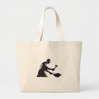 Blacksmith Worker Forging Iron Black and White Woo Large Tote Bag