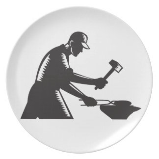 Blacksmith Worker Forging Iron Black and White Woo Plate