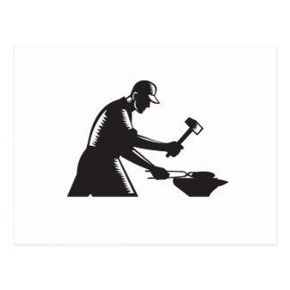 Blacksmith Worker Forging Iron Black and White Woo Postcard