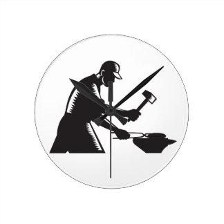 Blacksmith Worker Forging Iron Black and White Woo Round Clock